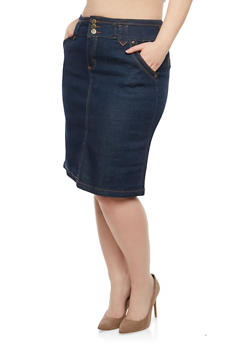 Plus Size Denim Pencil Skirt - 8452064464206