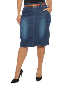 Plus Size Belted Denim Skirt - 8452064464409