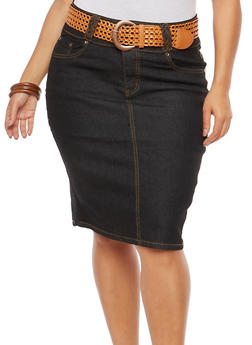 Plus Size Belted Denim Skirt - 8452064464495