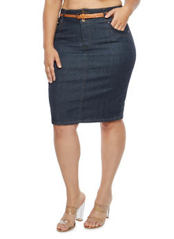 Plus Size Belted Denim Pencil Skirt - 8452064464555