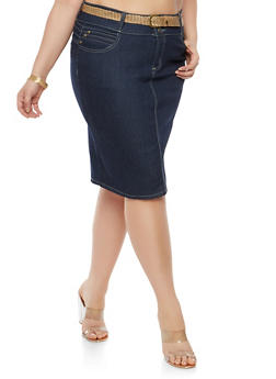 Plus Size Belted Denim Skirt - 8452064467104