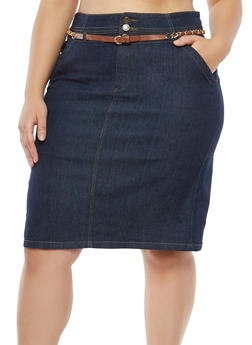 Plus Size Belted Denim Skirt - 8452064467635