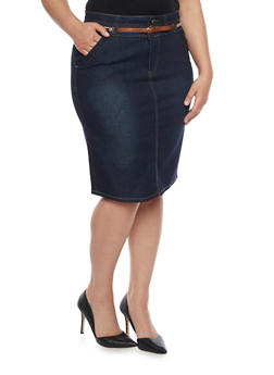 Plus Size Belted Midi Denim Pencil Skirt - 8452064467763