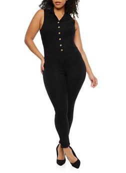 Plus Size Denim Jumpsuit - 8453056574016