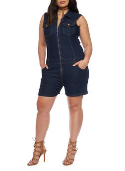 Plus Size Zip Up Denim Romper - 8453064463969