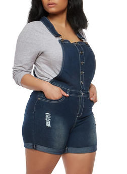 Plus Size Button Front Denim Shortalls - 8453064467896