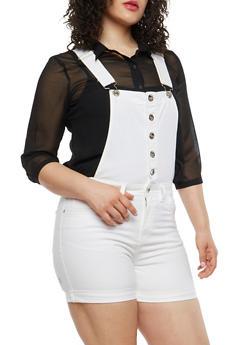 Plus Size Button Front Denim Shortalls - 8453064467897