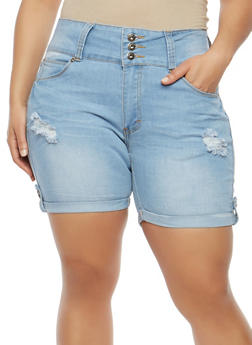 Plus Size Three Button Denim Shorts - 8454041759701