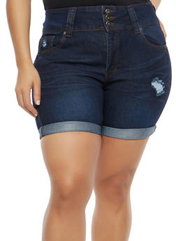 Plus Size Distressed Rolled Cuff Jean Shorts - 8454041759702