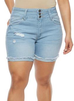 Plus Size Fixed Frayed Hem Bermuda Shorts - 8454041759703