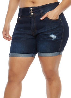 Plus Size Fixed Frayed Hem Bermuda Shorts - 8454041759703