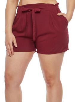 Plus Size Tie Front Shorts - 8454054260402