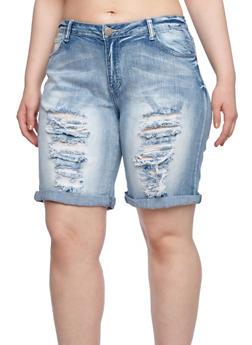 Plus Size Bermuda Shorts in Distressed Denim - 8454061659571