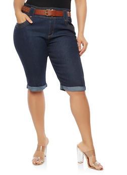 Plus Size Cuffed Denim Bermuda Shorts - 8454064461715