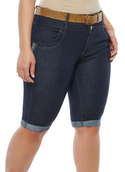 Plus Size Three Button Denim Bermuda Shorts - 8454064461726