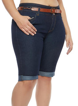 Plus Size Belted Bermuda Denim Shorts - 8454064462169