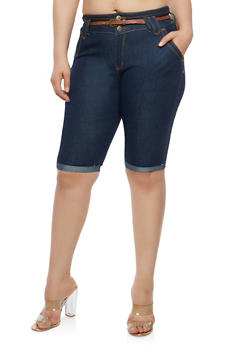 Plus Size Belted Denim Bermuda Shorts - 8454064464209
