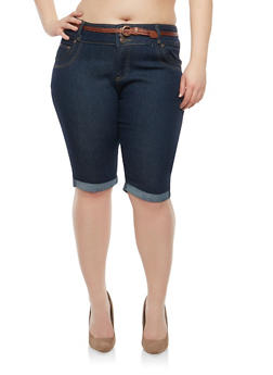 Plus Size Belted Denim Bermuda Shorts - 8454064464568