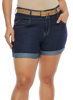 Plus Size 3 Button Belted Denim Shorts - 8454064466104
