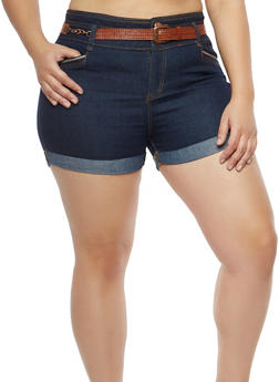 Plus Size Chain Belted Denim Shorts - 8454064466216