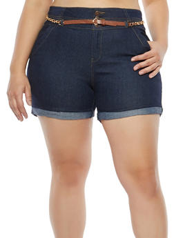 Plus Size Chain Belted Denim Shorts - 8454064467638