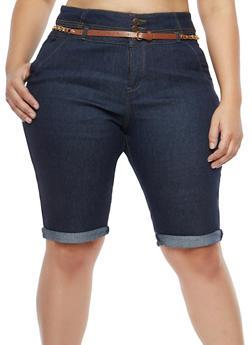 Plus Size Belted Denim Bermuda Shorts - 8454064467639