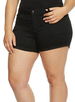 Plus Size WAX Five Pocket Rolled Cuff Jean Shorts - 8454071610026
