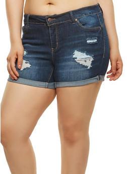 Plus Size WAX Push Up Denim Shorts - 8454071611059