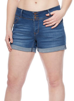 Plus Size WAX 3 Button Stretch Denim Cuff Shorts - MEDIUM WASH - 8454071619003