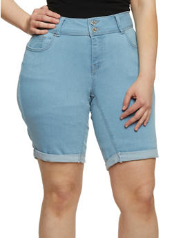 Plus Size WAX Cuffed Denim Bermuda Shorts - LIGHT WASH - 8454071619006