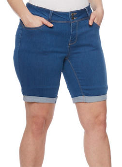 Plus Size WAX Cuffed Denim Bermuda Shorts - 8454071619006