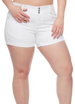 Plus Size WAX Jean Cuffed Shorts - 8454071619007