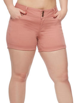 Plus Size WAX Jean Cuffed Shorts - MAUVE - 8454071619007