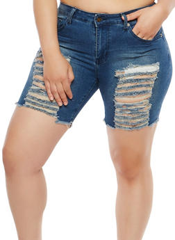 Plus Size Raw Hem Denim Shorts - 8454074261496