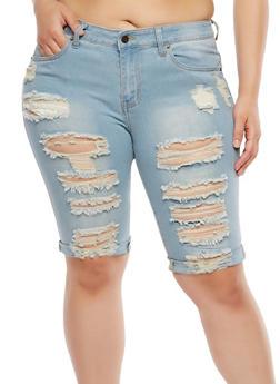 Plus Size Destroyed Denim Bermuda Shorts - 8454074261501