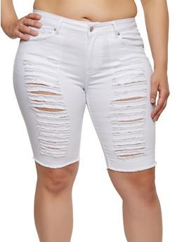 Plus Size Ripped Bermuda Shorts - 8454074265004