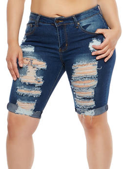 Plus Size Destroyed Denim Bermuda Shorts - 8454074265014