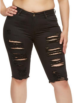 Plus Size Destroyed Denim Bermuda Shorts - 8454074265114