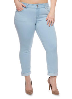 Plus Size WAX Double Button Cuffed Skinny Jeans - 8455071610030