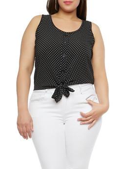 Plus Size Polka Dot Tie Front Top - 8464020626318