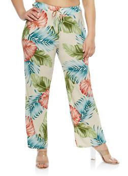 Plus Size Tropical Print Palazzo Pants - 8464020627610