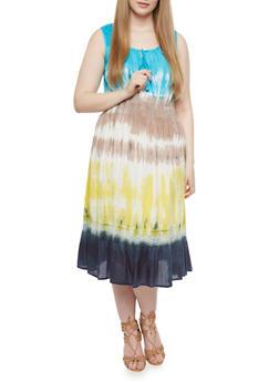 Plus Size Tie Dye Smock Dress,TURQUOISE,medium