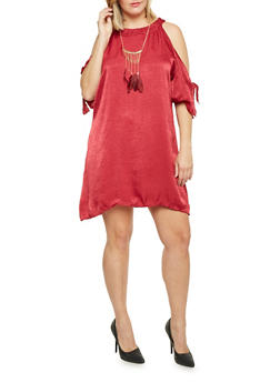 Plus Size Cold Shoulder Crinkle Swing Dress with Necklace - WINE - 8475020625333