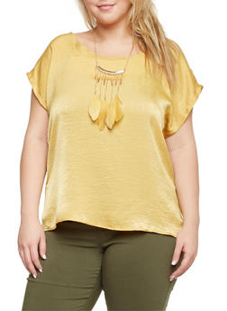 Plus Size Satin Top with Feather Necklace - MUSTARD - 8475020625653