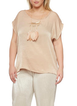 Plus Size Satin Top with Feather Necklace - 8475020625653