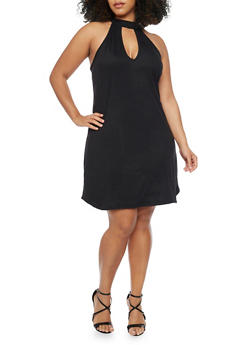 Plus Size Keyhole Neck Dress - BLACK - 8475020625856
