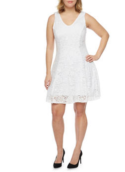Plus Size Sleeveless Lace Skater Dress - OFF WHITE - 8475020625996