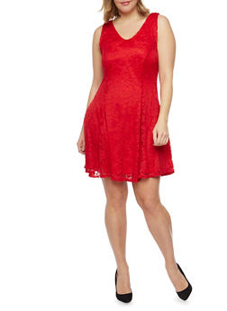Plus Size Sleeveless Lace Skater Dress - RED - 8475020625996