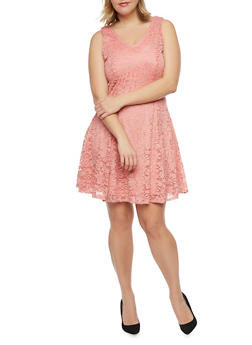 Plus Size Sleeveless Lace Skater Dress - BLUSH - 8475020625996
