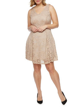 Plus Size Sleeveless Lace Skater Dress - TAUPE - 8475020625996